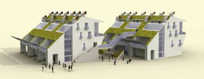 an artist's rendition of the carbon-neutral buildings