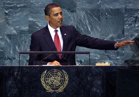 U.S.PresidentBarackObamaaddressesthe64thUnitedNationsGeneralAssembly,attheU.N.headquartersinNewYork,September23,2009.ObamaonWednesdaypromisedaneweraofU.S.engagementwiththeworld,sayingthatonlybyactingtogethercanmankindovercomepressingglobalchallenges.(Xinhua/ReutersPhoto)