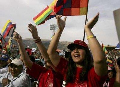 People carrying flags attend the ALBA summit at a stadium in Cochabamba October 17, 2009.(REUTERS/Stringer)